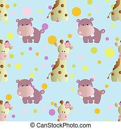 pattern with cartoon cute toy baby behemoth - seamless...