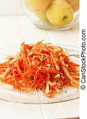 Kohlrabi and carrot salad with lime and chili sauce