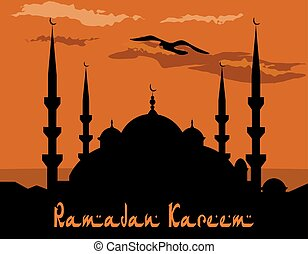 Ramadan Kareem. Stylized drawing of the blue mosque. Bird, the clouds. illustration