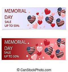 Memorial Day. Illustration in honor of the national US holiday with a heart in the USA flag style. Holiday flyers, invitations or postcards. The message about the discount, sale. Vector illustration