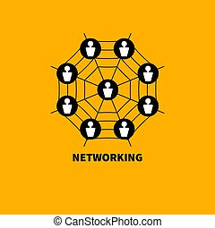 Icon networking - Scheme networking. Web with users....