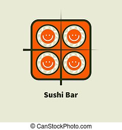 Logo for sushi bars - Icon with smiley bento sushi and...