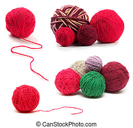 Colored wool clews set - Colored wool clews stack isolated...