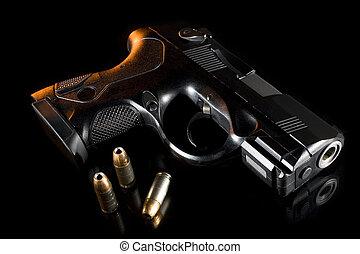 backlit handgun - Polymer handgun at night that is lit from...