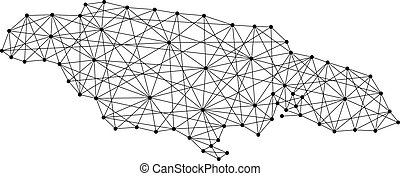 Map of Jamaica from polygonal black lines and dots of vector...