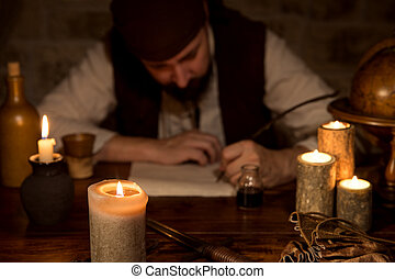 medieval man is sign a dokument, concept business and contract