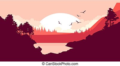 Nature at sunset - Vector illustration of a fictional...