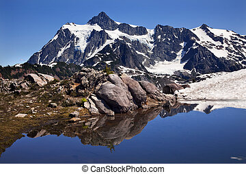 Mount Shuksan Blue Snow Pool Artist Point Washington State...
