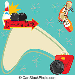 Retro Bowling Party Invitation - Fun Retro party invitation