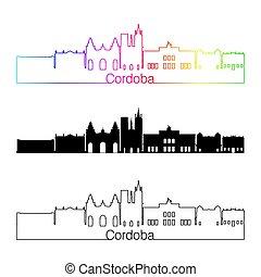 Cordoba AR skyline linear style with rainbow in editable...