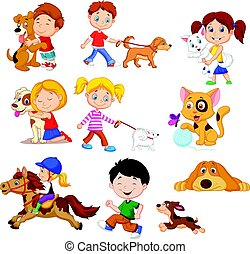 Cartoon little kids with their pets