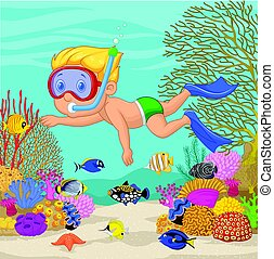 Little boy snorkeling - Vector illustration of Little boy...