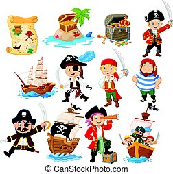 Collection of cartoon pirate - Vector illustration of...