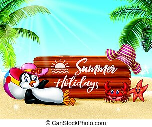 Summer background with penguin relaxing