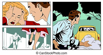 Man scolds a woman. Stock illustration.