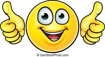 Emoji Thumbs Up Icon - A cartoon emoji icon emoticon looking...
