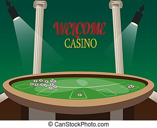 Casino golden banner Welcome with lamp. Vector illustration.