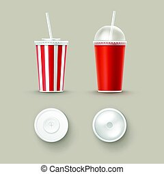 Vector Set of Cups For Soft Drinks - Vector Set of Blank Big...