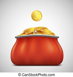 Heap of gold coins in a purse. Profit and revenue. Stock vector