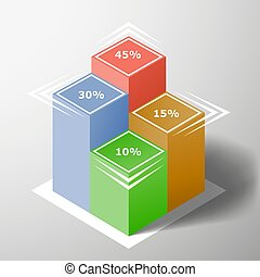 Template Financial chart with statistical indexes. Isometric...