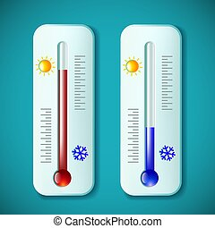 Set mercury thermometers. Heat and cold. Stock vector illustrati