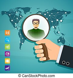 Human hand is holding magnifying glass. Social network. Stock ve