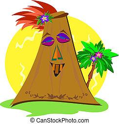 Stylized Tiki with Palm Tree