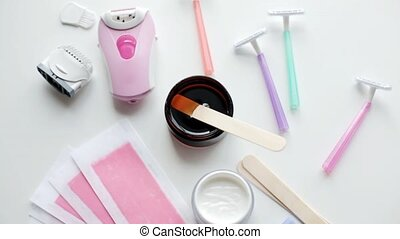 epilator with razors, depilatory wax and strips - hair...