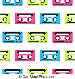 Audio tape vector neon seamless pattern.