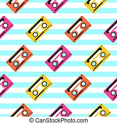 Vintage pop art music tape striped seamless pattern.