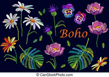 Boho chic. Collection of summer flowers with embroidered...