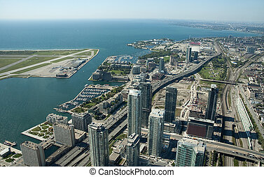 Toronto center - aerial view of Toronto center, airport on...