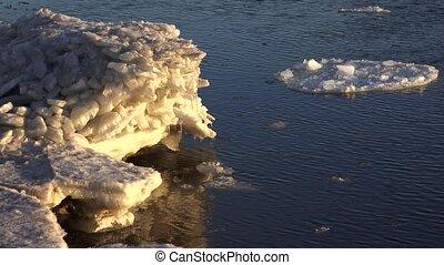 Ice floe floats in water. 4K. - Ice floe floats in water....