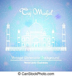 Taj Mahal Temple Watercolor Background - Taj Mahal Temple in...