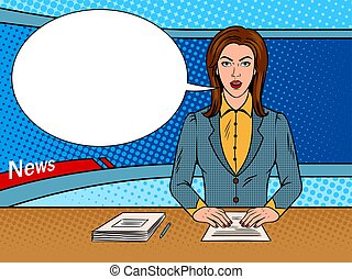 Newsreader reads news on TV pop art vector - Newsreader...