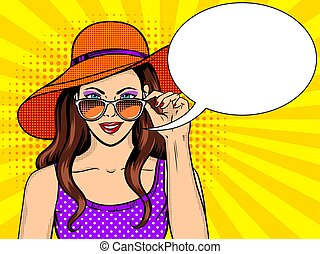 Woman looks through sunglasses pop art vector - Woman looks...