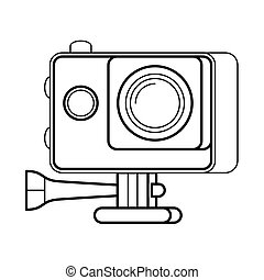 Action camera line art, simple gadget icon for web...
