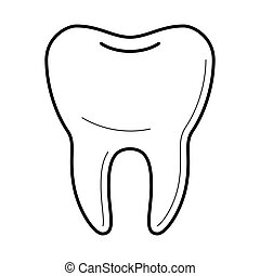 Icons of tooth in thin line style.