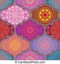Ethnic floral seamless pattern with mandalas - Ethnic floral...