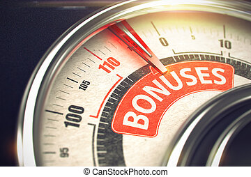 Bonuses - Text on the Conceptual Gauge with Red Needle. 3D.