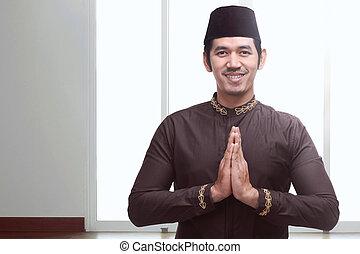 muslim, 帽子, 若い, 黒, アジア人, 祈ること, 人