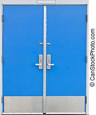 old school door blue - old style school door - blue isolated...