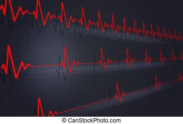 Heart Pulse Illustration - concept heart pulsating cardigram...