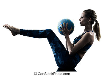 woman fitness Medicine Ball excercises silhouette