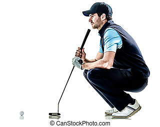 man golfer golfing isolated withe background - one caucasian...