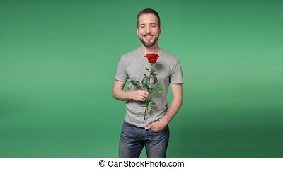 Young romantic man giving a red rose