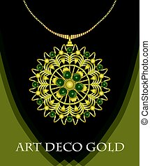 Luxurious art deco necklace with green gems emerald, fashion in victorian style, antique jewel