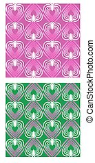 Heart shape patterns in mute nostalgic colors, pink and green variant, seamless abstract retro background