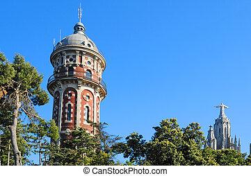 Tibidabo, Barcelona, Spain - Torre de les Aig?es and Sagrat...