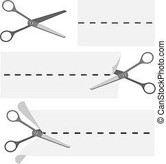 Scissors cutting paper sign